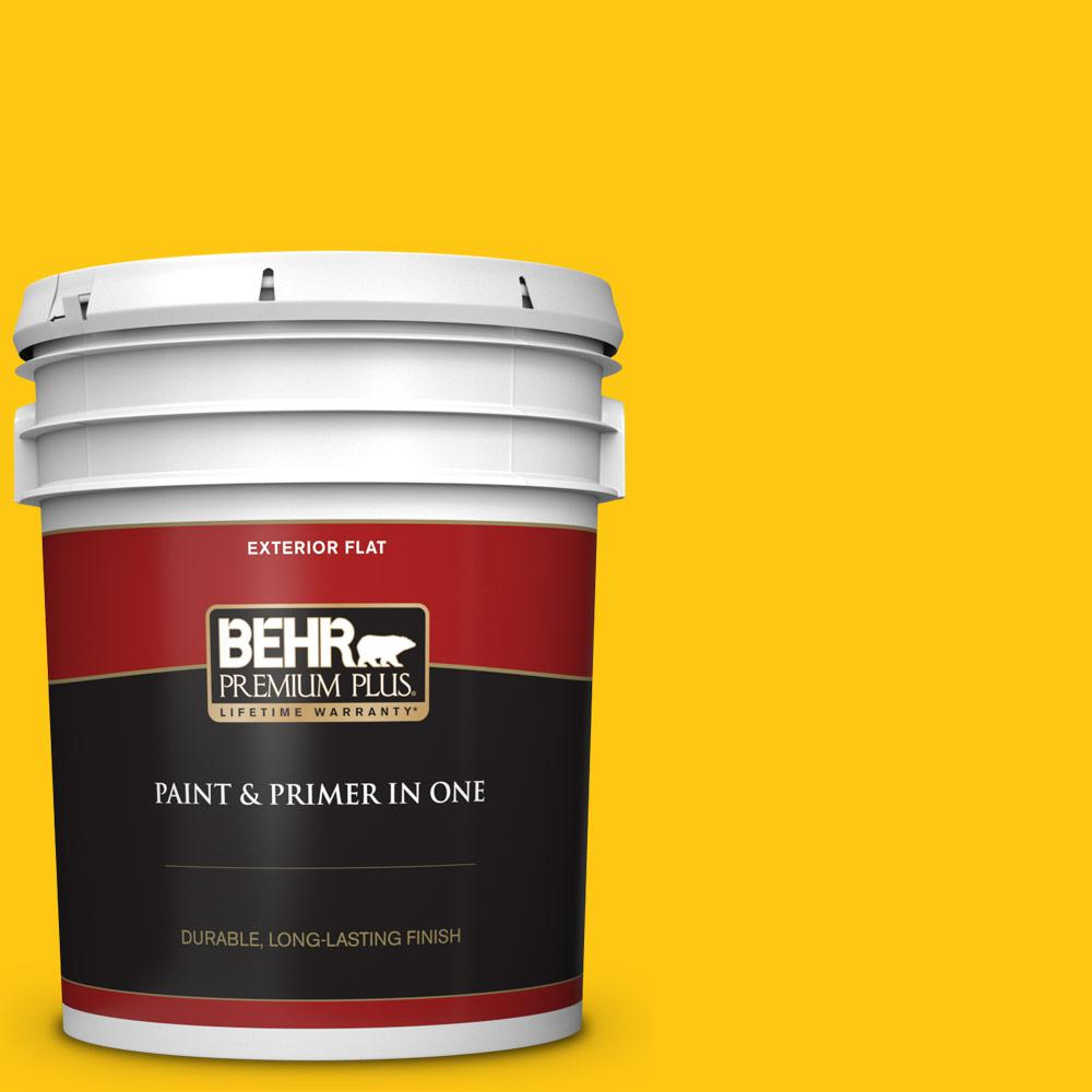 BEHR Premium Plus 5 gal  #P300-7 Unmellow Yellow Flat Exterior Paint and  Primer in One