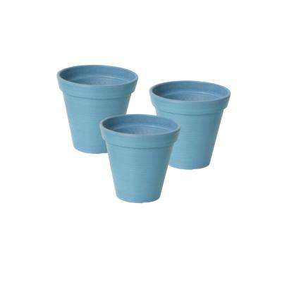 Valencia 4.25 in. Round Banded Spun Blue Polystone Planters (3-Pack)