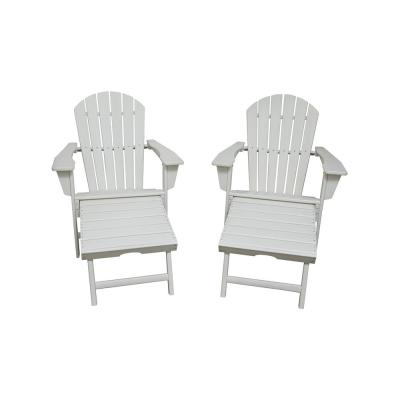 Hampton White Plastic Outdoor Patio Adirondack Chair with Hideaway Ottoman (2-Pack)