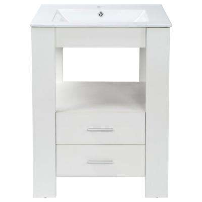 Single 24 in. W x 18 in. D Bath Vanity in White with White Vanity Top and Basin