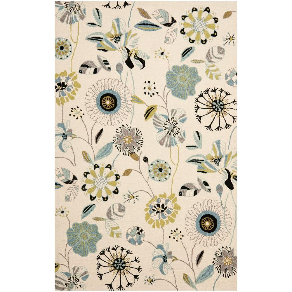 Safavieh Four Seasons Ivory/Blue 5 ft. x 7 ft. Indoor/Outdoor Area Rug