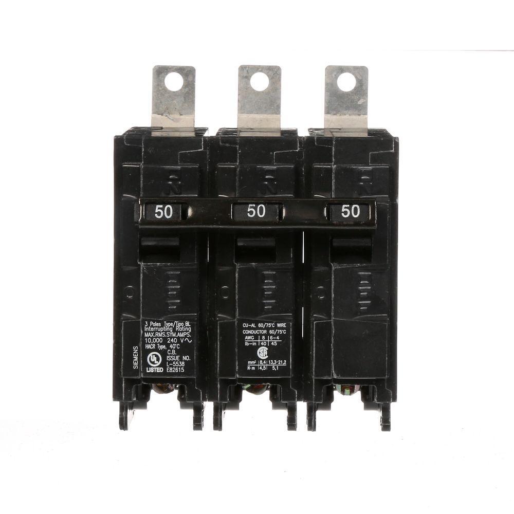 Siemens 50 Amp 3-Pole Type BL 10 kA Bolt-On Circuit Breaker