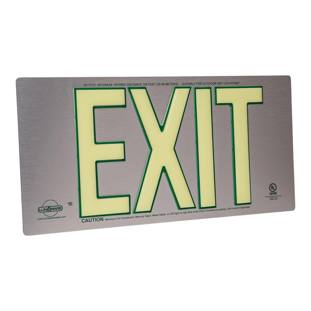 UL Listed Brushed Aluminum Photoluminescent Emergency Exit Sign