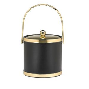 Kraftware Sophisticates 3 Qt. Black w/Polished Brass Ice Bucket with Track Handle, Metal Cover by Kraftware