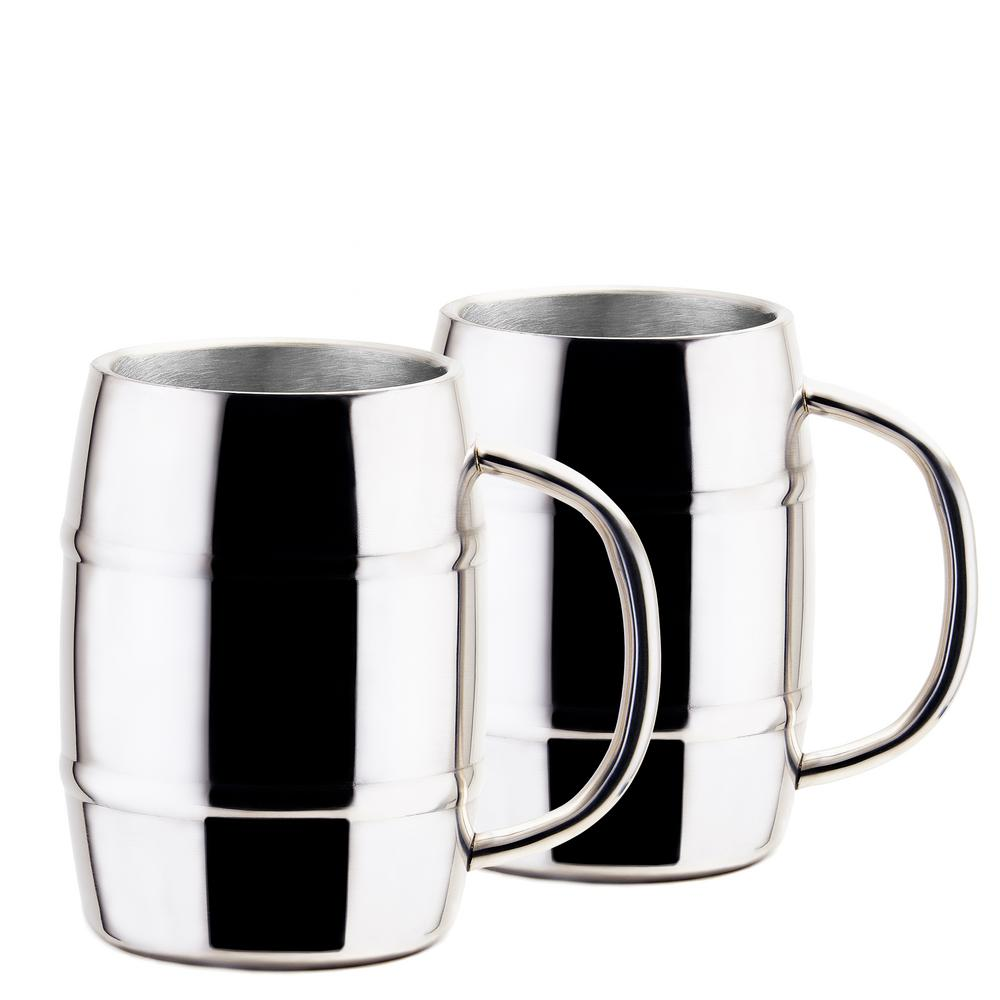 Jumbo KeepKool 33.8 oz. Double Walled Stainless Steel Mugs (Set of