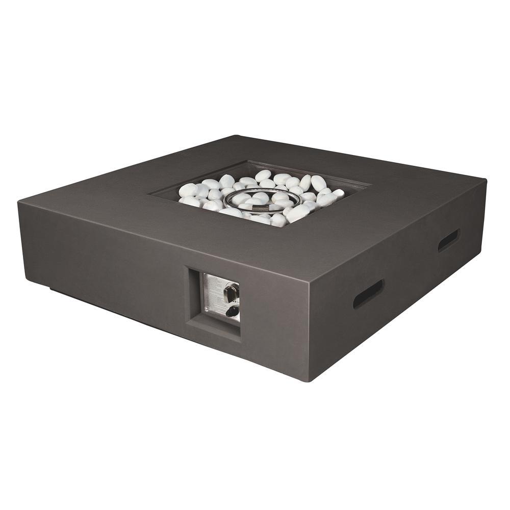Brenta 42 in. W x 12 in. H Square Outdoor Gas Firepit Table in Dark Grey