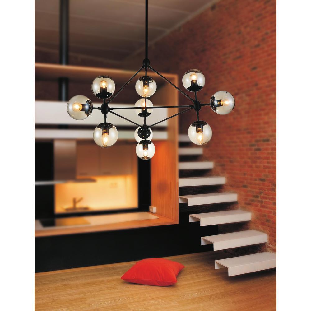 CWI Lighting Glow 10-Light Black Chandelier