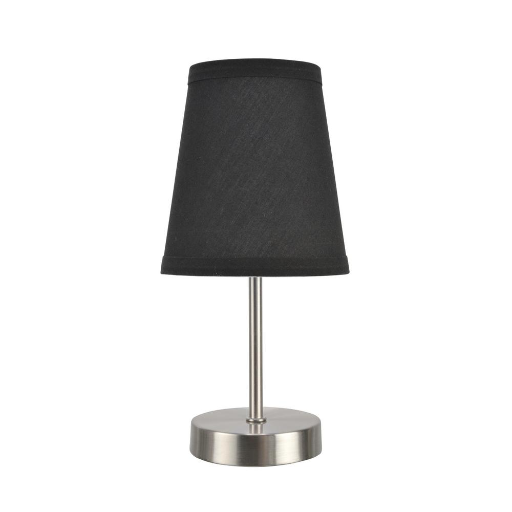 Aspen Creative Corporation 10 in. Satin Nickel Candlestick Table Lamp with Hardback Empire Lamp Shade in Black