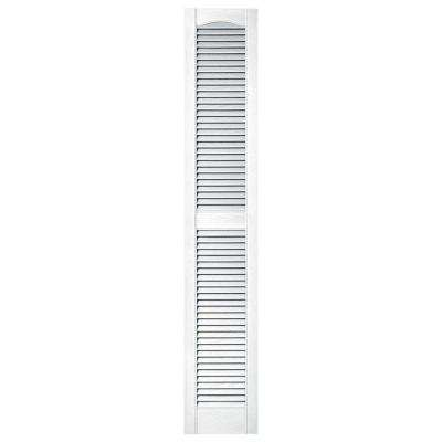 12 in. x 67 in. Louvered Vinyl Exterior Shutters Pair in #001 White