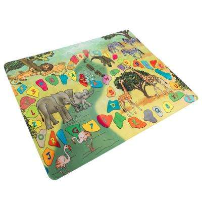 Safari Animals, Letters and Numbers Multi 4 ft. x 5 ft. Area Rug