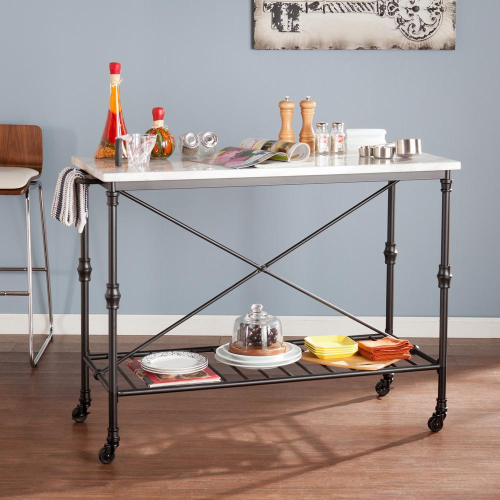 Go Home Black Industrial Kitchen Cart At Lowes Com: Black Serving Cart With Faux Marble Top-HD888965
