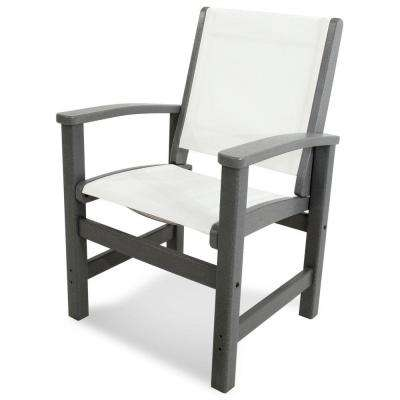 High Quality Coastal Slate Grey Patio Dining Chair With White Sling
