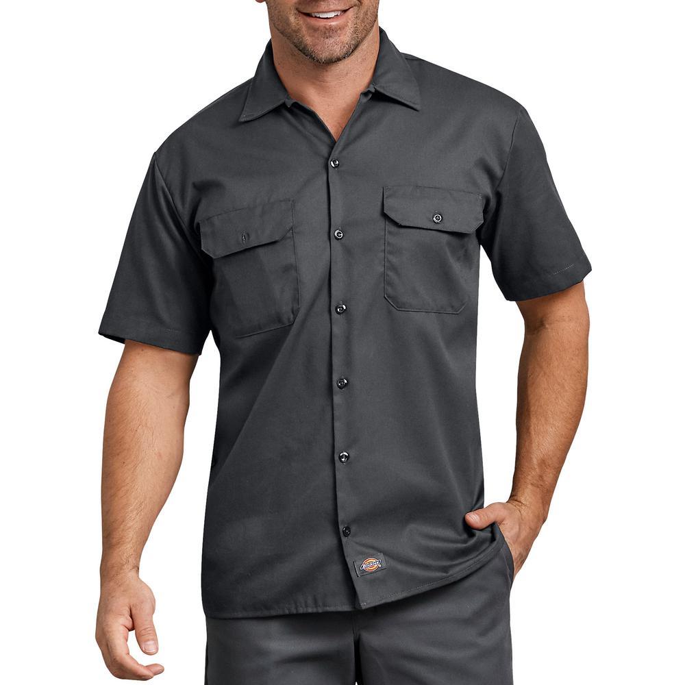 NEW Mens Button Down Dress Shirt Medium Classic Fit Charcoal Gray Short Sleeve