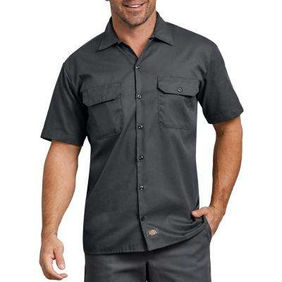 Men's Charcoal Flex Relaxed Fit Short Sleeve Twill Work Shirt