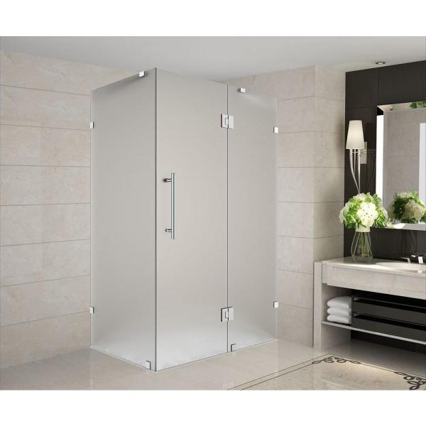 Avalux 34 in. x 30 in. x 72 in. Completely Frameless Hinged Shower Enclosure with Frosted Glass in Stainless Steel