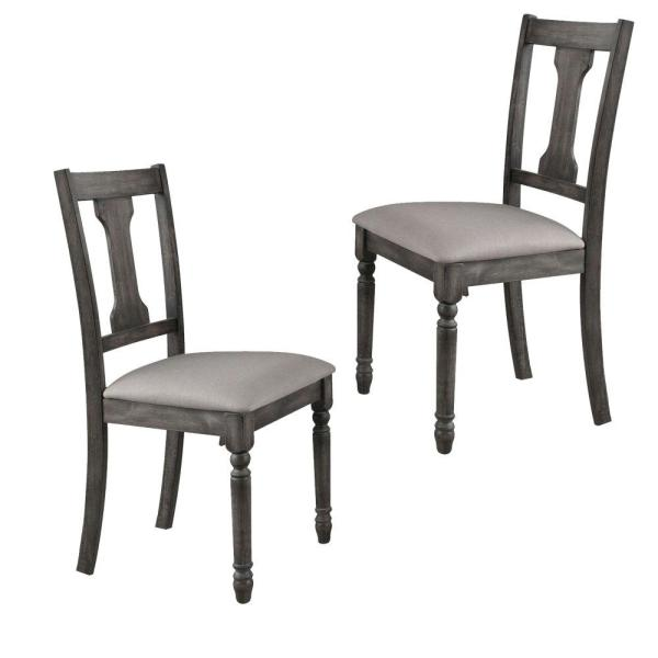 Gray and Beige Wooden Side Chairs with Linen Padded Seat and Splat back Design (Set of 2)