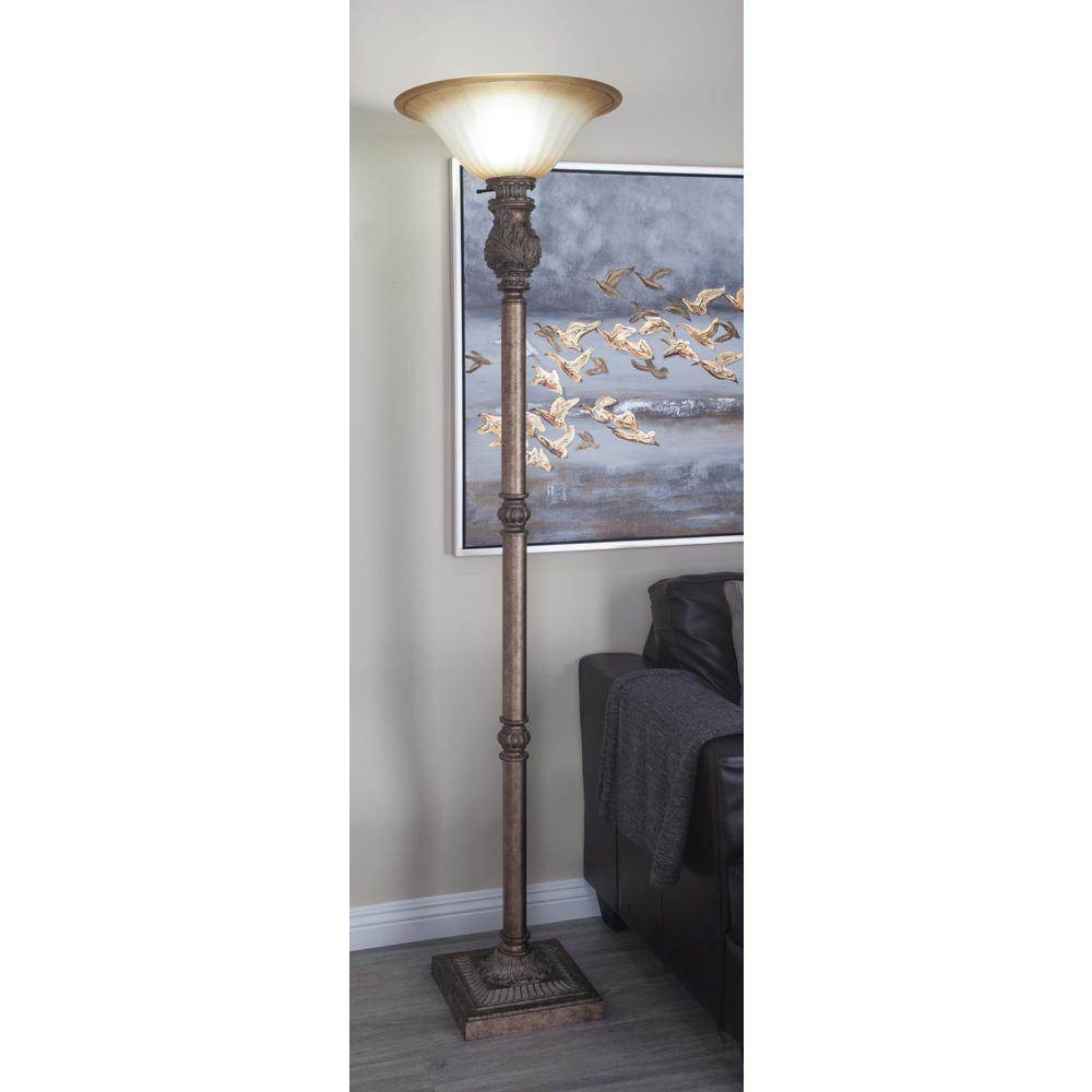 18 in. x 74 in. Modern Inverted Bell Metal and Glass