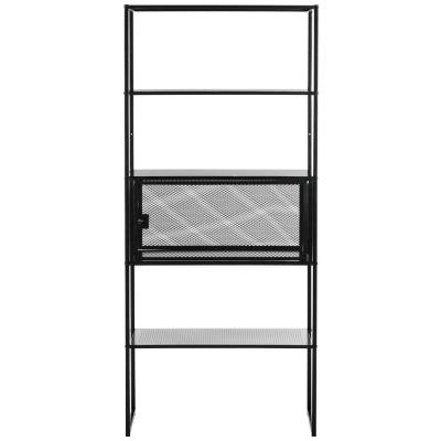 70.9 in. Black Metal 4-shelf Etagere Bookcase with Open Back