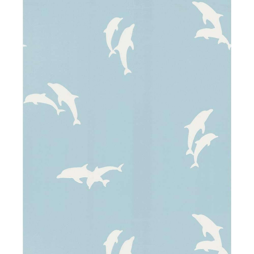 Light Blue Dolphins Wallpaper Sample