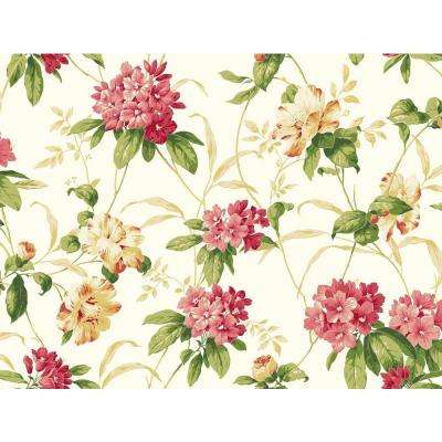 Floral wallpaper decor the home depot casabella ii rhododendron floral wallpaper mightylinksfo