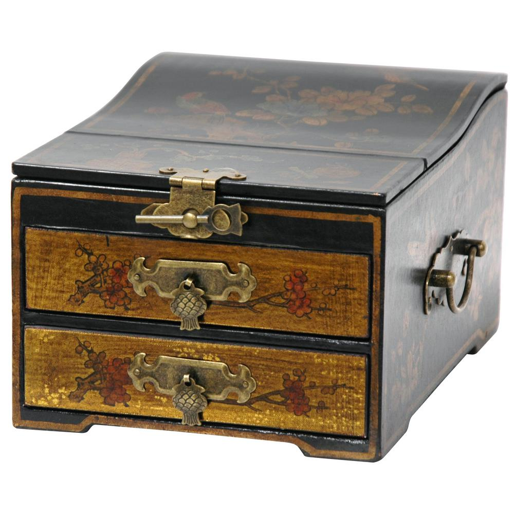 Oriental Furniture Gold Small Jewelry Box with MirrorLQBOX9 The