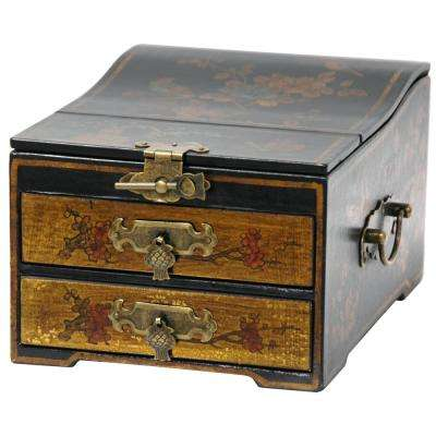 Oriental Furniture Gold Small Jewelry Box with Mirror