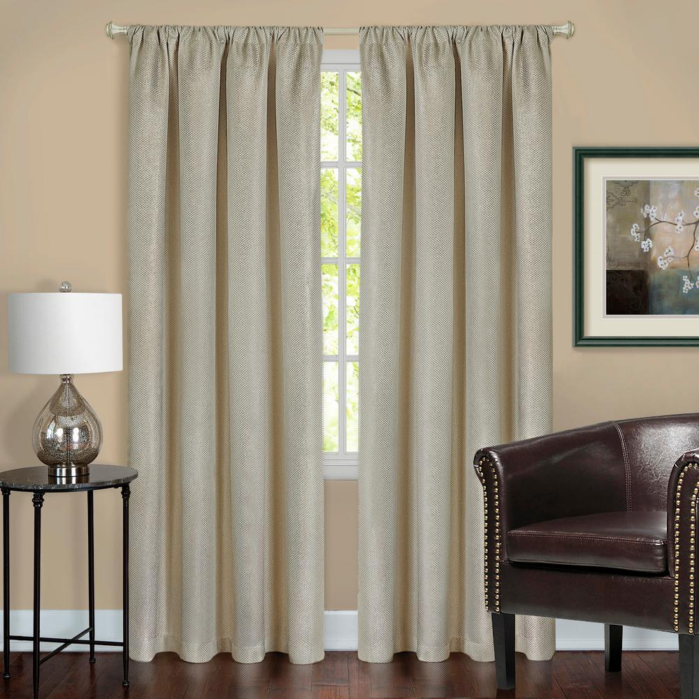Harmony Tan Polyester Rod Pocket Blackout Panel - 52 in. W