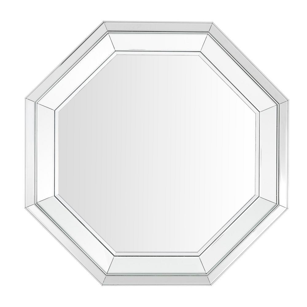 31 in. H x 31 in. W Medium Hexagonal Silver Beveled Glass Classic Accent Mirror