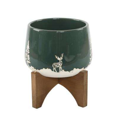 6 in. Green Ceramic Christmas Trees and Deer Textured Planter on Wood Stand