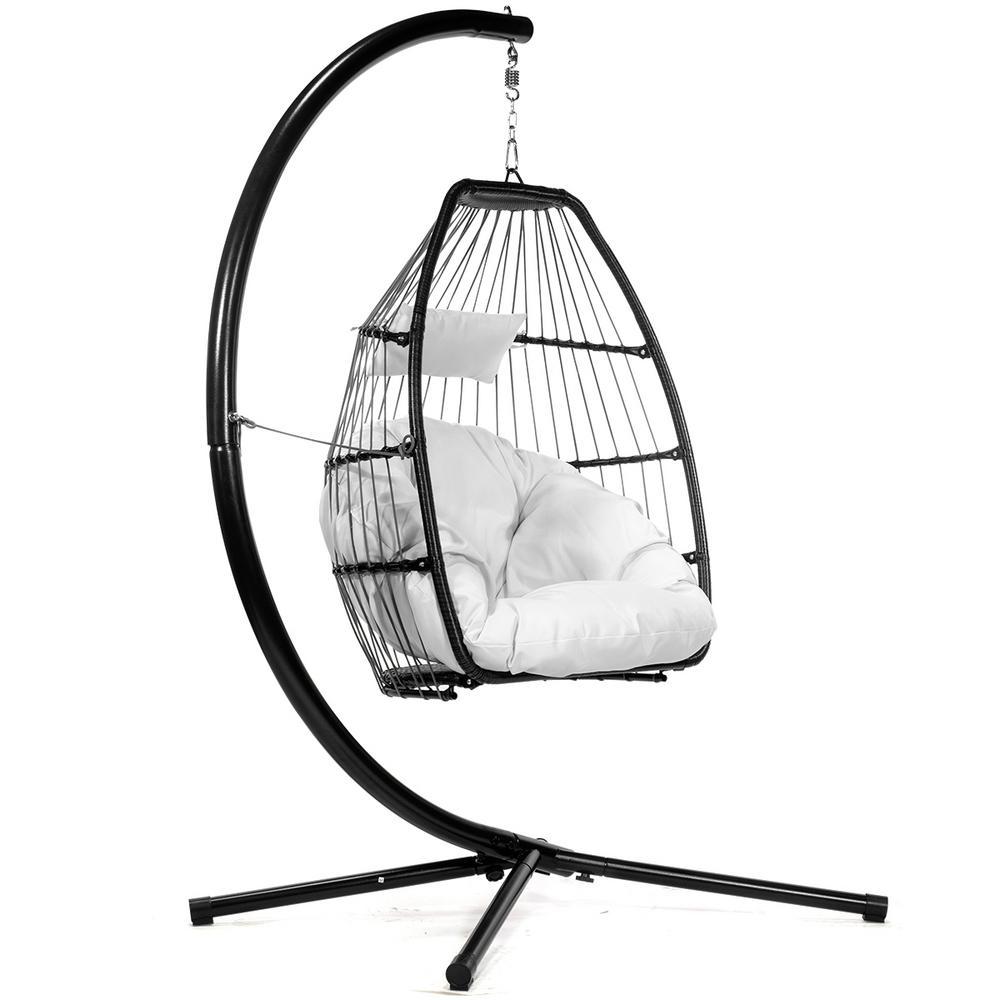 Marvelous Barton Black Wicker Egg Shaped Patio Swing Chair With Cream Cushion Theyellowbook Wood Chair Design Ideas Theyellowbookinfo