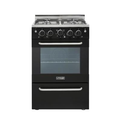 Prestige 24 in. 2.3 cu. ft. Gas Convection Range Sealed 4-Burners in Black
