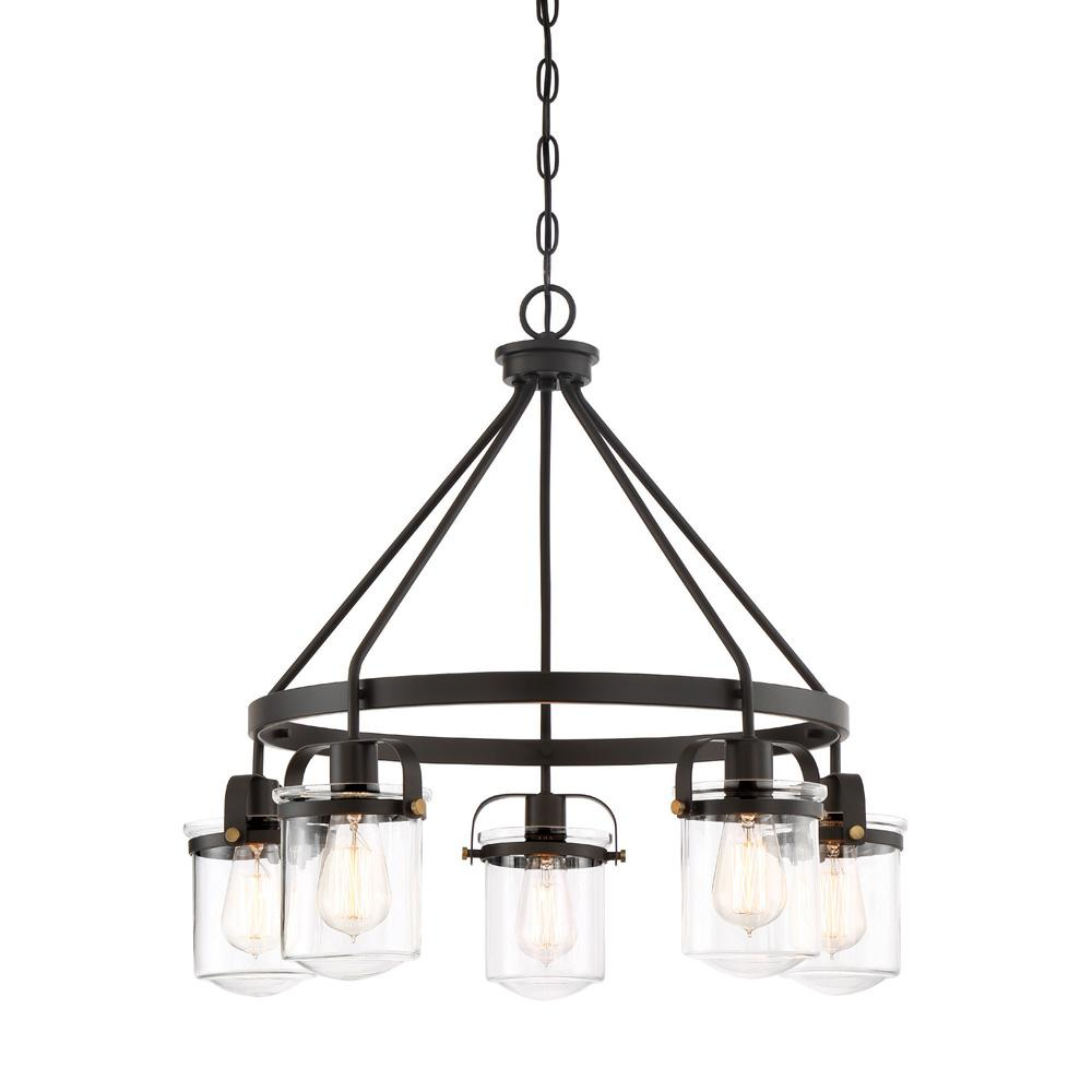 Designers Fountain Jaxon 5-Light Oil Rubbed Bronze Interior Chandelier with Clear Glass Shade