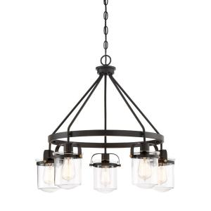 Jaxon 5-Light Oil Rubbed Bronze Interior Chandelier with Clear Glass Shade