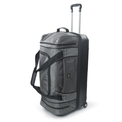 Workhorse 30 in. Black Rolling Duffel Bag with Retractable Pull Handle and Split Level Storage