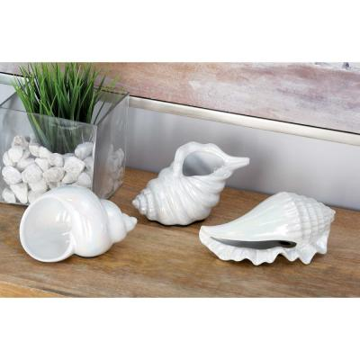 Coastal Living White Ceramic Seashells (Set of 3)