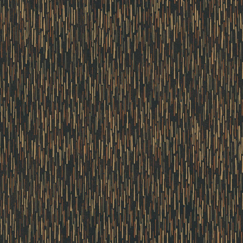 The Wallpaper Company 8 in. x 10 in. Black and Metallic Vertical Texture with a Random Print Wallpaper Sample