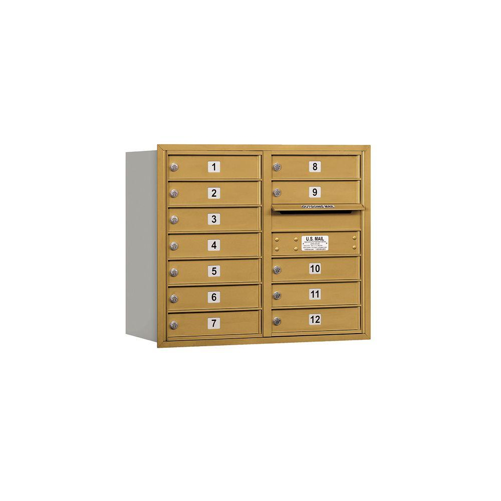 3700 Series 27 in. 7 Door High Unit Gold Private Rear