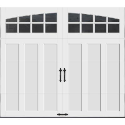 Coachman Collection 8 ft. x 7 ft. 18.4 R-Value Intellicore Insulated White Garage Door with Arch Window
