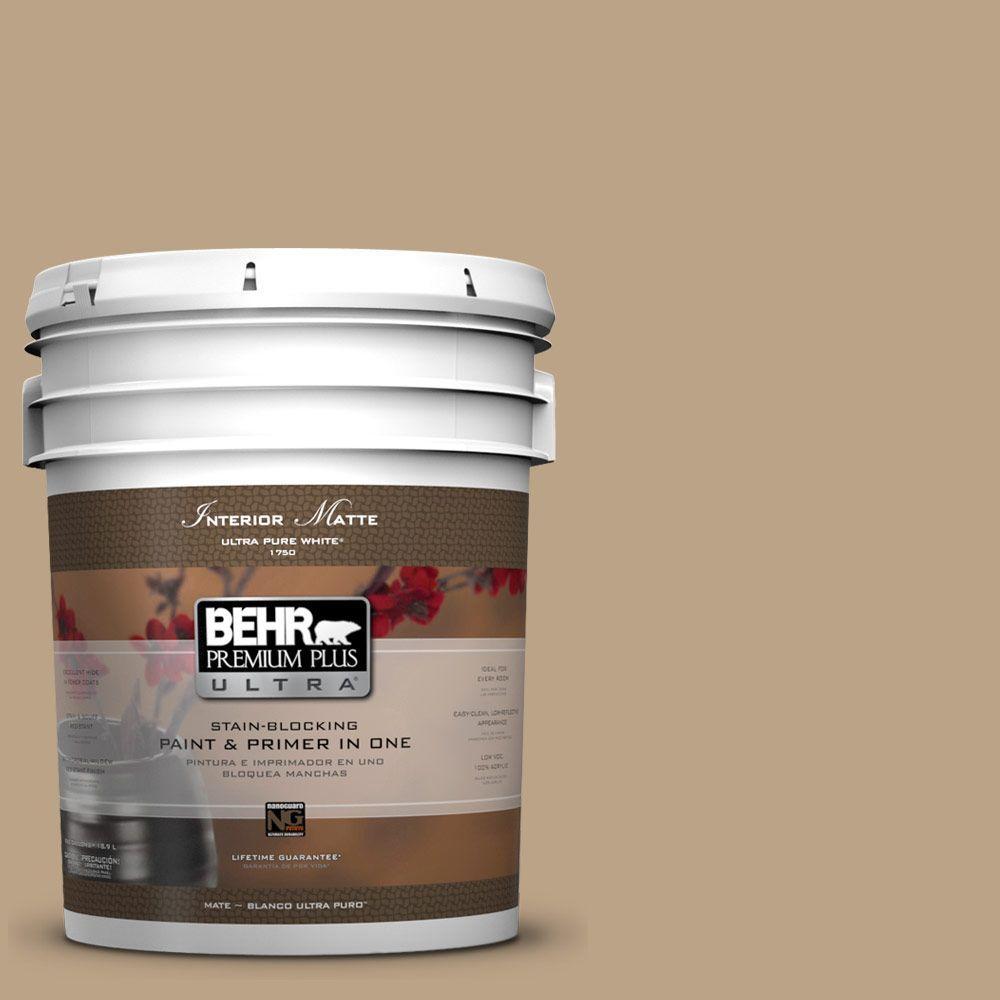 BEHR Premium Plus Ultra 5 gal. #UL170-4 Gobi Tan Flat/Matte Interior Paint
