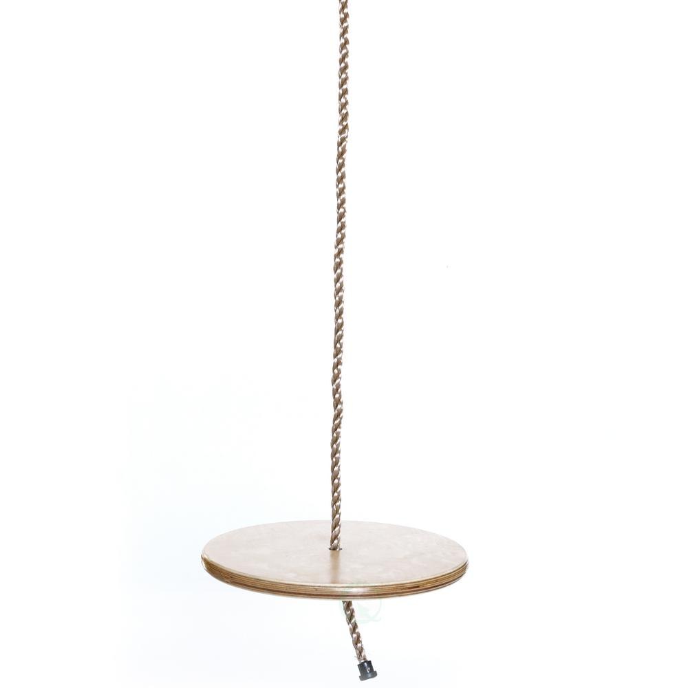 Playberg Wooden Round Disc Plate Swing Seat With Hanging Rope