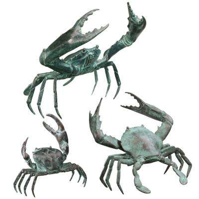Ocean's Crabs Cast Bronze Garden Statue Set (3-Piece)