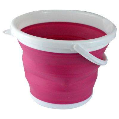 2.65 Gal. Pink Foldable Silicone Collapsible Bucket
