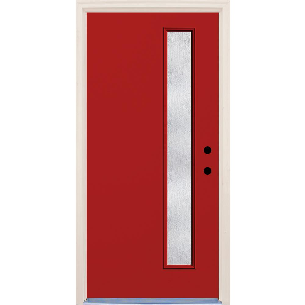 Builders Choice 36 in. x 80 in. Left-Hand Engine 1 Lite Rain Glass Painted Fiberglass Prehung Front Door with Brickmould