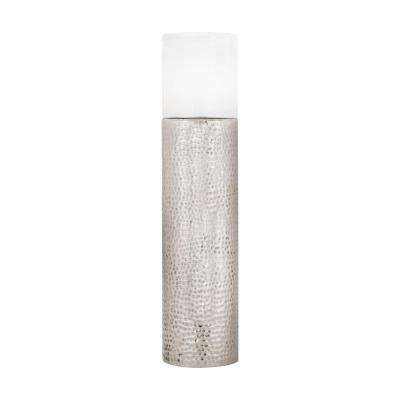43 in. Hammered Metallic Silver Hurricane Candle Holder