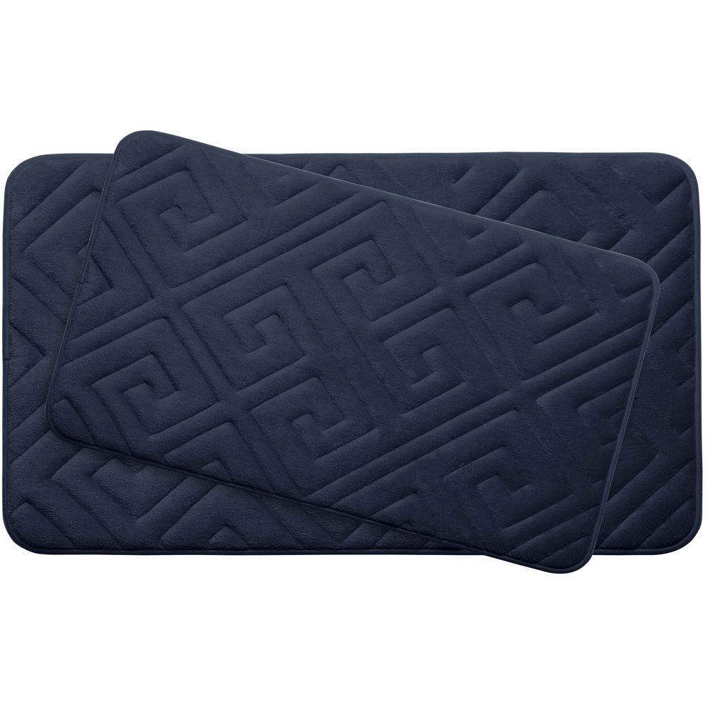 Caicos Indigo Memory Foam 2-Piece Bath Mat Set