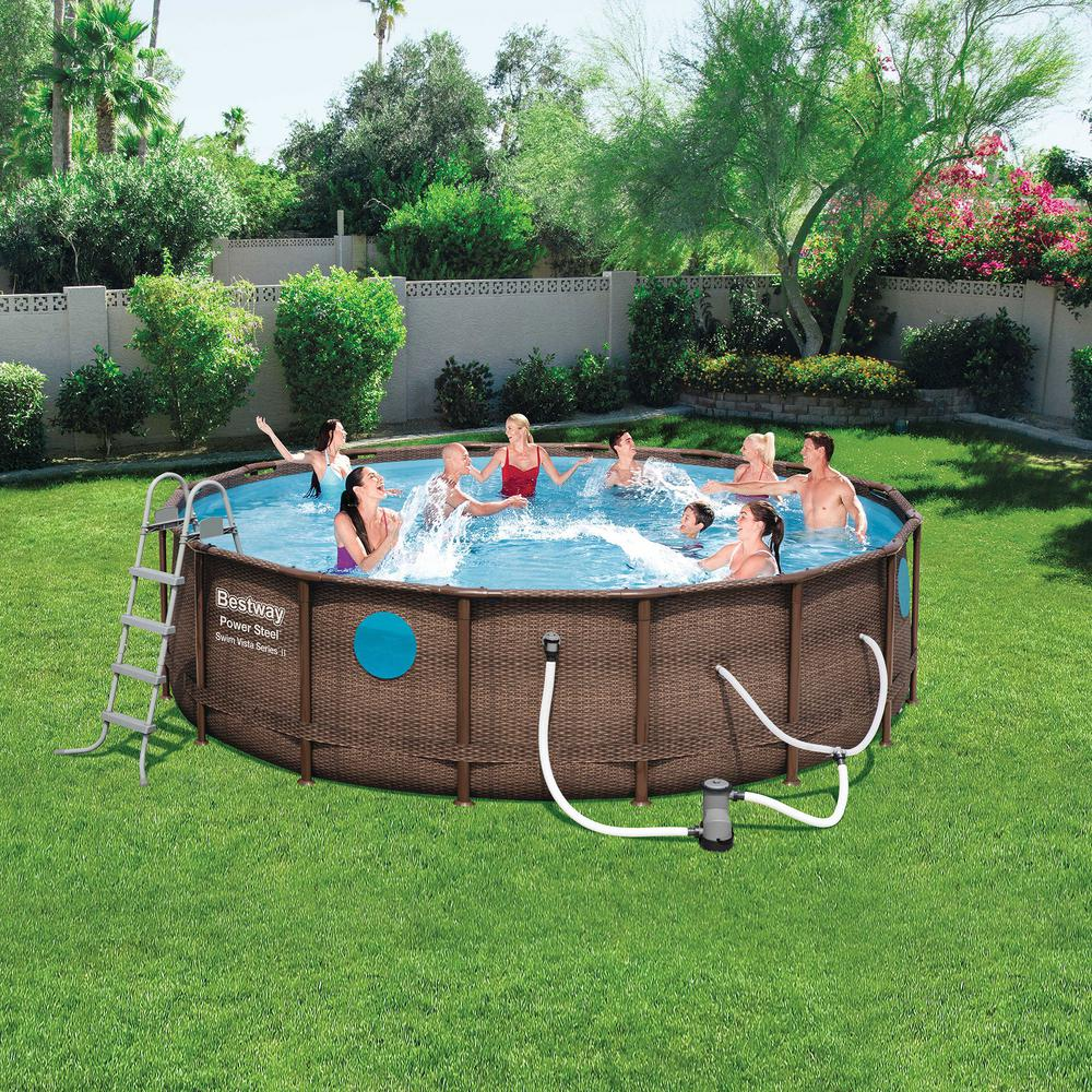 Bestway Bestway Power Steel Swim Vista 16 ft. x 4 ft. Above Ground Swimming  Pool Set with Pump