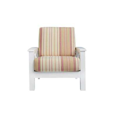 Virginia X-Design White Arm Chair with Exposed Wood Frame in Pink Stripe