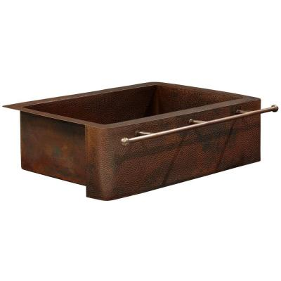 Rodin Farmhouse Apron Front Handmade Pure Solid Copper 25 in. Single Bowl Copper Kitchen Sink with Towel Bar