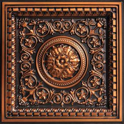 Rhine Valley 2 ft. x 2 ft. PVC Lay-in Ceiling Tile in Antique Copper