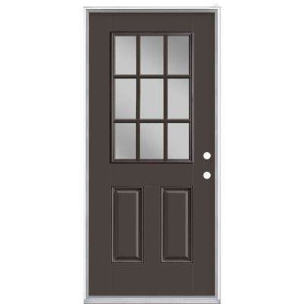 36 in. x 80 in. 9 Lite Willow Wood Left Hand Inswing Painted Smooth Fiberglass Prehung Front Door with No Brickmold